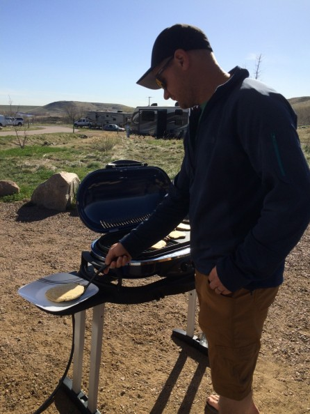 Grilling some pancakes at the campground